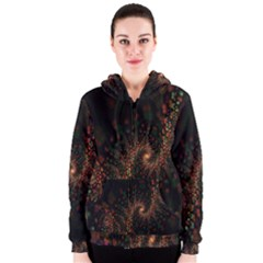 Multicolor Fractals Digital Art Design Women s Zipper Hoodie