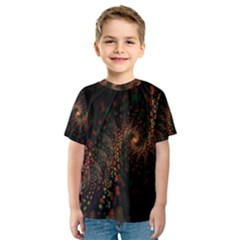 Multicolor Fractals Digital Art Design Kids  Sport Mesh Tee