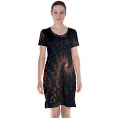 Multicolor Fractals Digital Art Design Short Sleeve Nightdress