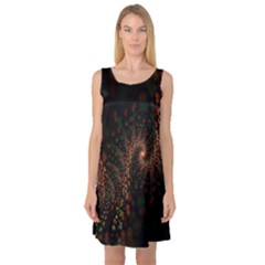 Multicolor Fractals Digital Art Design Sleeveless Satin Nightdress