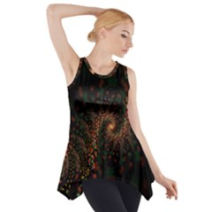 Multicolor Fractals Digital Art Design Side Drop Tank Tunic