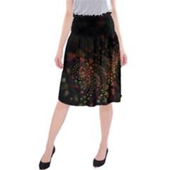 Multicolor Fractals Digital Art Design Midi Beach Skirt