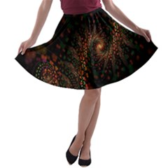 Multicolor Fractals Digital Art Design A-line Skater Skirt