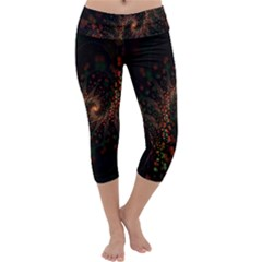 Multicolor Fractals Digital Art Design Capri Yoga Leggings
