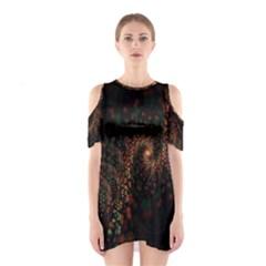 Multicolor Fractals Digital Art Design Cutout Shoulder Dress