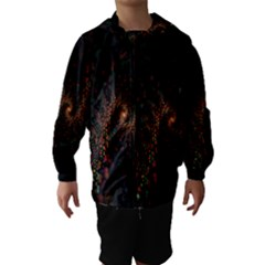 Multicolor Fractals Digital Art Design Hooded Wind Breaker (Kids)