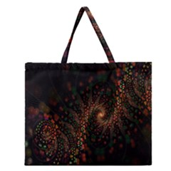 Multicolor Fractals Digital Art Design Zipper Large Tote Bag
