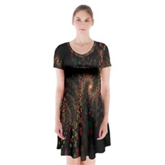 Multicolor Fractals Digital Art Design Short Sleeve V-neck Flare Dress