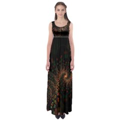 Multicolor Fractals Digital Art Design Empire Waist Maxi Dress
