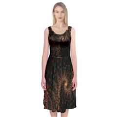 Multicolor Fractals Digital Art Design Midi Sleeveless Dress