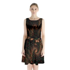 Multicolor Fractals Digital Art Design Sleeveless Chiffon Waist Tie Dress