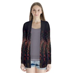 Multicolor Fractals Digital Art Design Drape Collar Cardigan