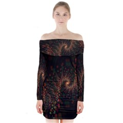 Multicolor Fractals Digital Art Design Long Sleeve Off Shoulder Dress