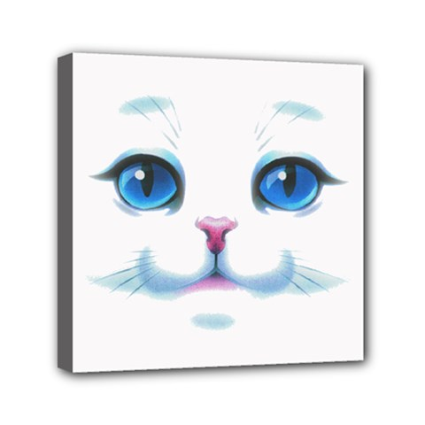 Cute White Cat Blue Eyes Face Mini Canvas 6  x 6