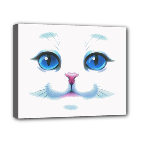 Cute White Cat Blue Eyes Face Canvas 10  x 8