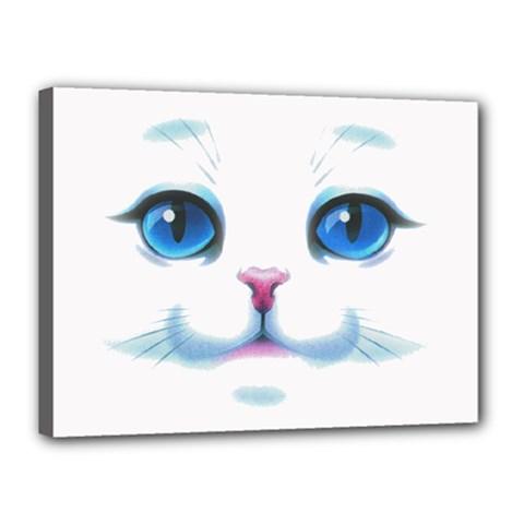 Cute White Cat Blue Eyes Face Canvas 16  x 12