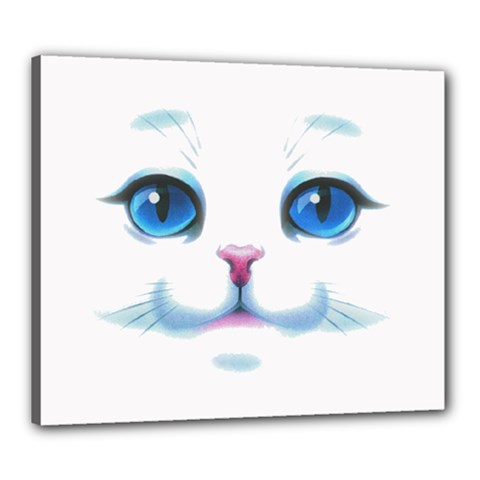 Cute White Cat Blue Eyes Face Canvas 24  x 20
