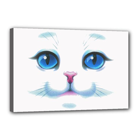 Cute White Cat Blue Eyes Face Canvas 18  x 12