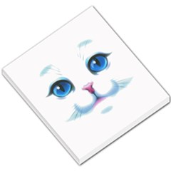 Cute White Cat Blue Eyes Face Small Memo Pads