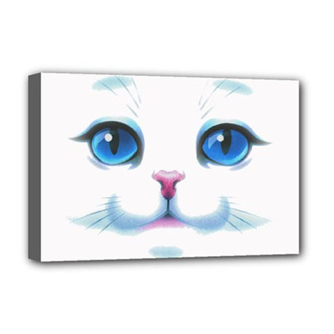Cute White Cat Blue Eyes Face Deluxe Canvas 18  x 12