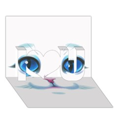Cute White Cat Blue Eyes Face I Love You 3D Greeting Card (7x5)