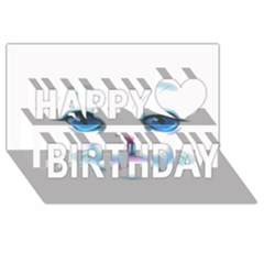 Cute White Cat Blue Eyes Face Happy Birthday 3D Greeting Card (8x4)