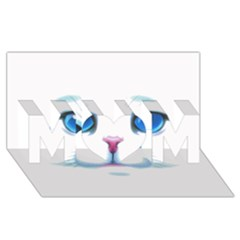 Cute White Cat Blue Eyes Face MOM 3D Greeting Card (8x4)