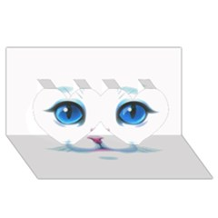 Cute White Cat Blue Eyes Face Twin Hearts 3D Greeting Card (8x4)
