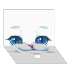 Cute White Cat Blue Eyes Face Heart Bottom 3D Greeting Card (7x5)