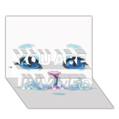 Cute White Cat Blue Eyes Face YOU ARE INVITED 3D Greeting Card (7x5)