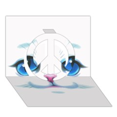Cute White Cat Blue Eyes Face Peace Sign 3D Greeting Card (7x5)