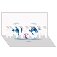 Cute White Cat Blue Eyes Face #1 MOM 3D Greeting Cards (8x4)