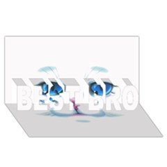 Cute White Cat Blue Eyes Face BEST BRO 3D Greeting Card (8x4)