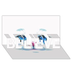 Cute White Cat Blue Eyes Face BELIEVE 3D Greeting Card (8x4)