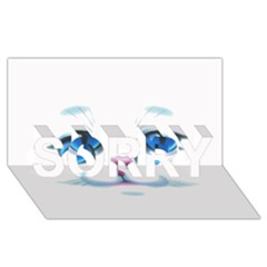 Cute White Cat Blue Eyes Face SORRY 3D Greeting Card (8x4)