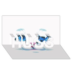 Cute White Cat Blue Eyes Face HUGS 3D Greeting Card (8x4)