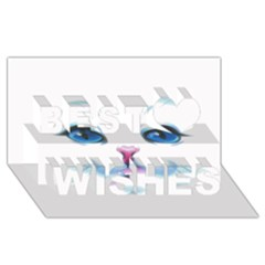 Cute White Cat Blue Eyes Face Best Wish 3D Greeting Card (8x4)