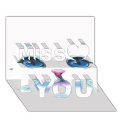 Cute White Cat Blue Eyes Face Miss You 3D Greeting Card (7x5)