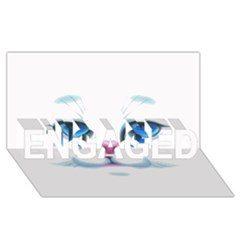 Cute White Cat Blue Eyes Face ENGAGED 3D Greeting Card (8x4)