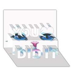 Cute White Cat Blue Eyes Face You Did It 3D Greeting Card (7x5)
