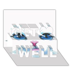Cute White Cat Blue Eyes Face Get Well 3D Greeting Card (7x5)