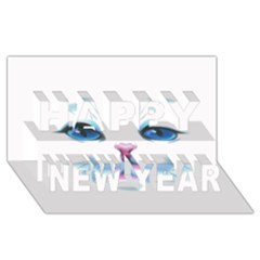 Cute White Cat Blue Eyes Face Happy New Year 3D Greeting Card (8x4)