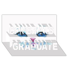 Cute White Cat Blue Eyes Face Congrats Graduate 3D Greeting Card (8x4)