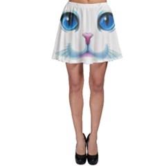 Cute White Cat Blue Eyes Face Skater Skirt