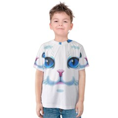 Cute White Cat Blue Eyes Face Kids  Cotton Tee