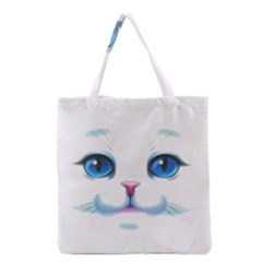Cute White Cat Blue Eyes Face Grocery Tote Bag