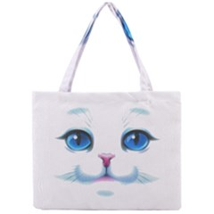 Cute White Cat Blue Eyes Face Mini Tote Bag