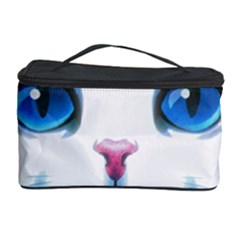 Cute White Cat Blue Eyes Face Cosmetic Storage Case