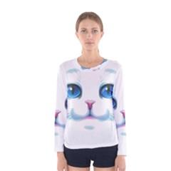 Cute White Cat Blue Eyes Face Women s Long Sleeve Tee