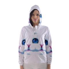 Cute White Cat Blue Eyes Face Hooded Wind Breaker (Women)